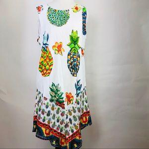 Desigual Rouses Pineapple Swing Dress Sleeveless S